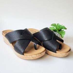KORK-EASE Baja Sport Slide Sandals Black Leather 8